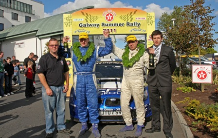 Tim McNulty at the Finish Ramp fo the Galway Summer Rally 2011 - 2st Overall
